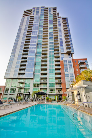 Picture of the pool at The Mark Condos in San Diego